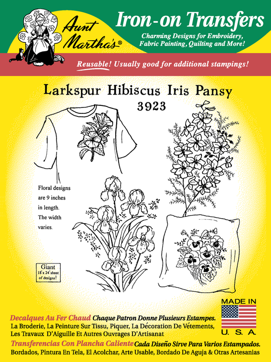 Aunt Martha's Embroidery Transfer Pattern #3923 Large Larkspur, Hisbiscus,Iris, & Pansy