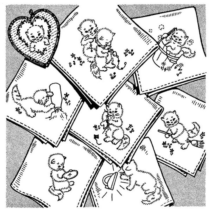 Aunt Martha's #3606 Kittens for Tea Towels