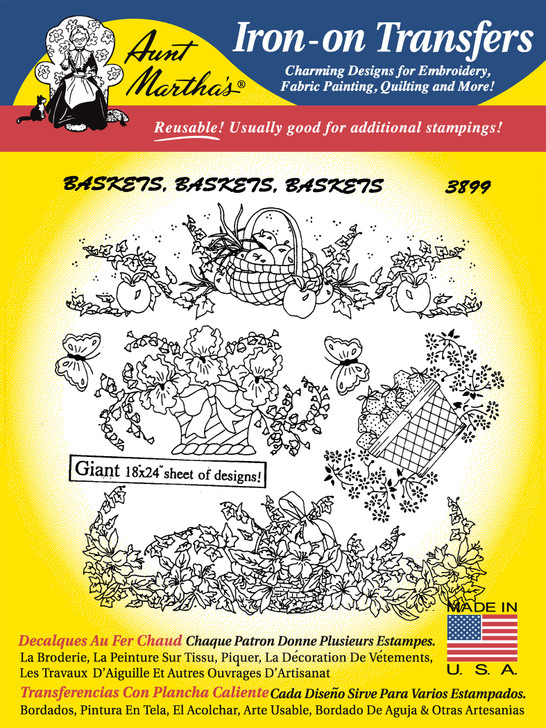 Aunt Martha's Embroidery Transfer Pattern #3899 Baskets