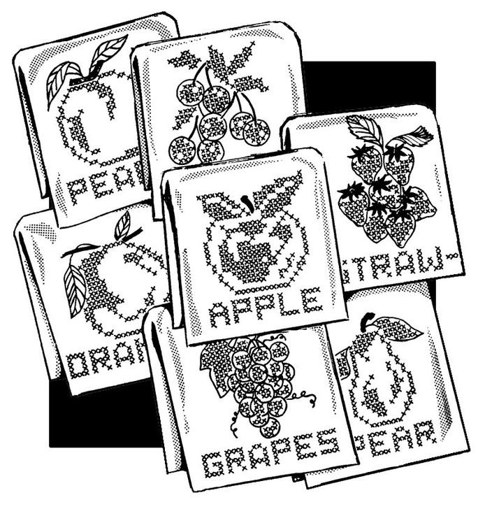 Aunt Martha's #3787 Fancy Fruit for Tea Towels