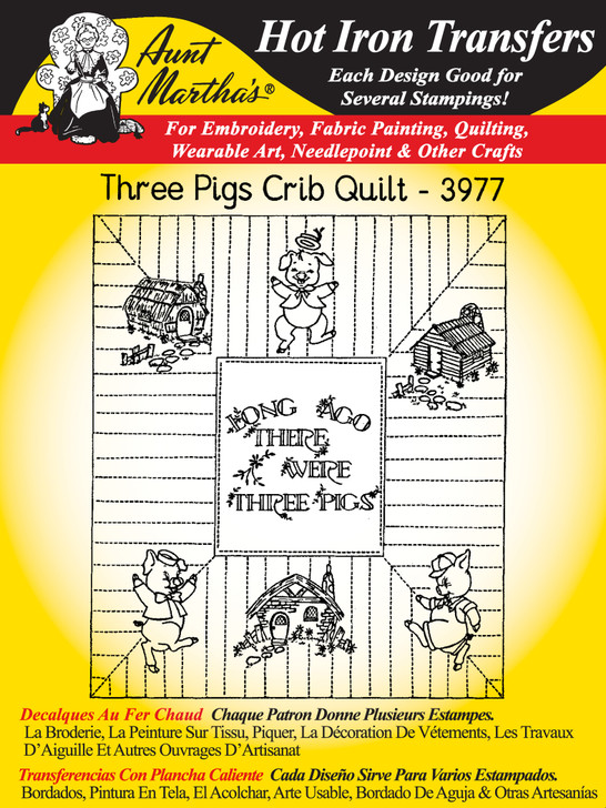Aunt Martha's Embroidery Transfer Pattern #3977 Three Pigs Crib Quilt