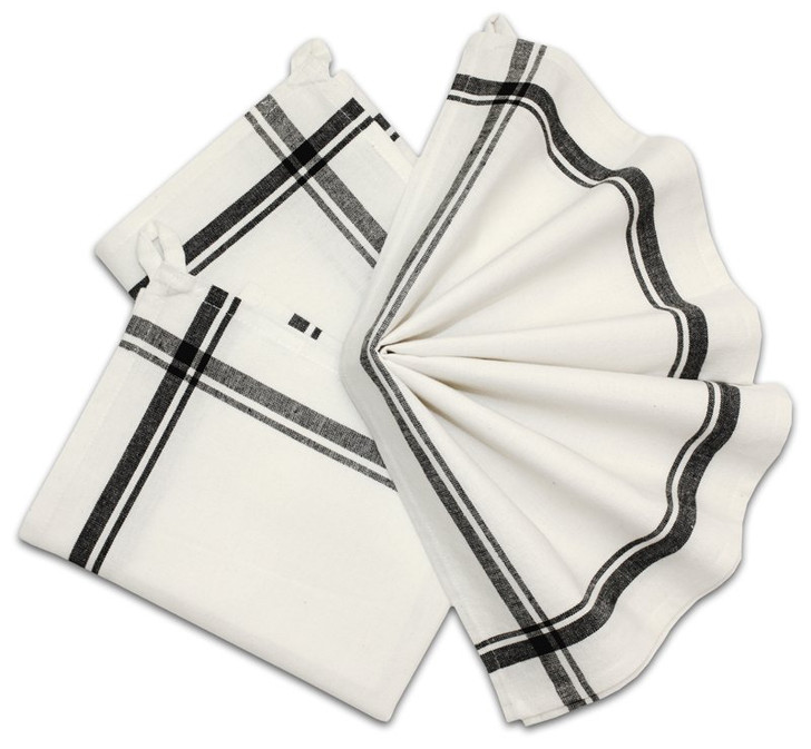 Retro Box Stripe Towels (BLACK)