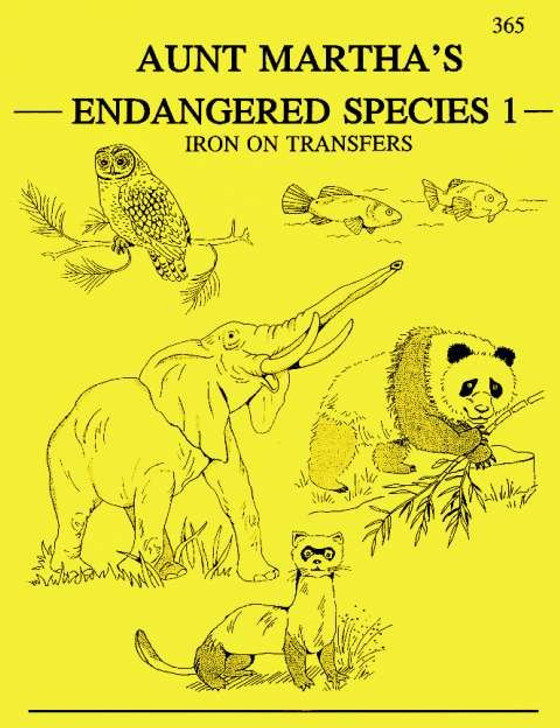 Aunt Martha's Embroidery Transfer Pattern #365 Endangered Species