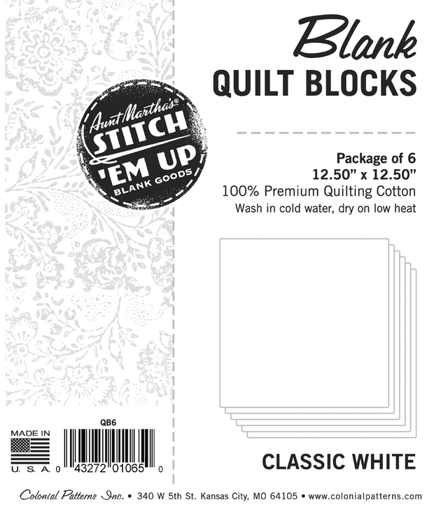 Aunt Martha's Stitch 'Em Blank Goods - Quilt Blocks