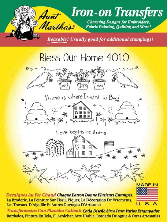Aunt Martha's Embroidery Transfer Pattern #4010 Bless Our Home