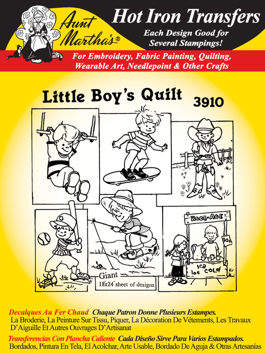 Aunt Martha's Embroidery Transfer Pattern #3910 Little Boy's Quilt
