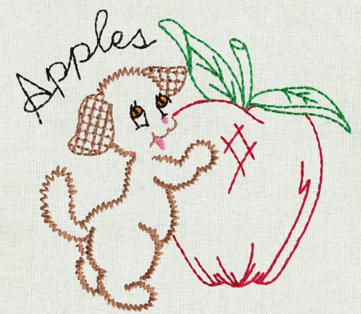 Aunt Martha's #3994 Fruit 'N Veggie Pup (Machine Embroidery File)