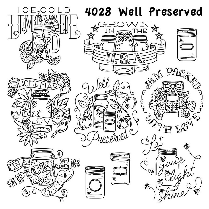 Aunt Martha's #4028 Well Preserved Hand Stitch Embroidery Transfer Pattern