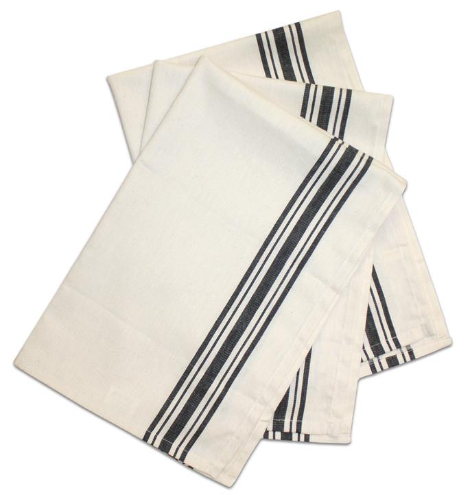 Aunt Martha's Stitch 'Em Up Retro Black Stripe Herringbone Towel