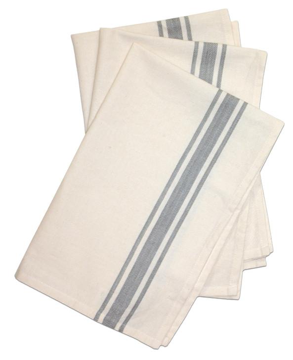 Aunt Martha's Stitch 'Em Up Retro Bold Twill Gray Stripe Towels
