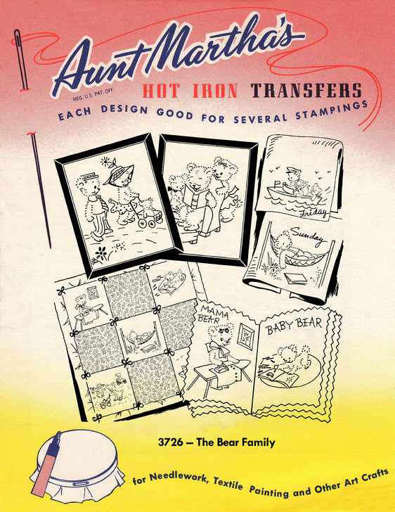Aunt Martha's Embroidery Transfer Pattern #3726 The Bear Family