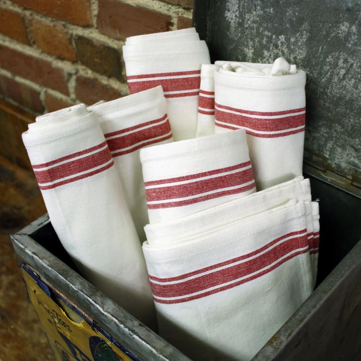 Aunt Martha's Vintage Red Stripe Towels Set of 12