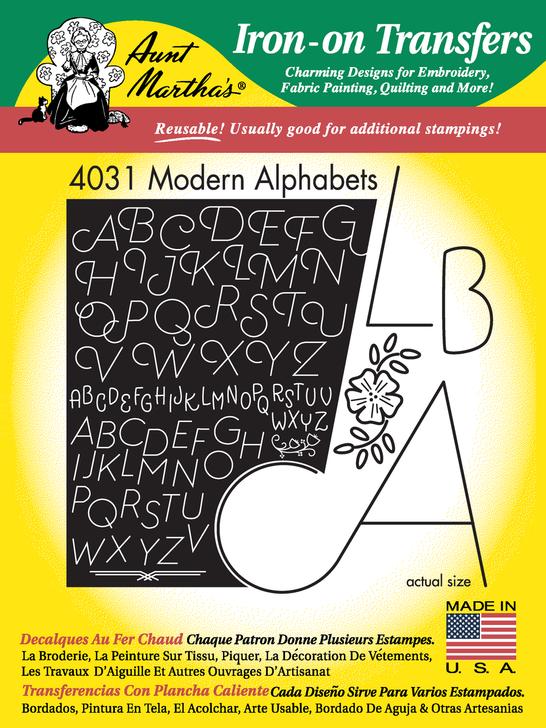 Aunt Martha's Embroidery Transfer Pattern #4031 Modern Alphabet