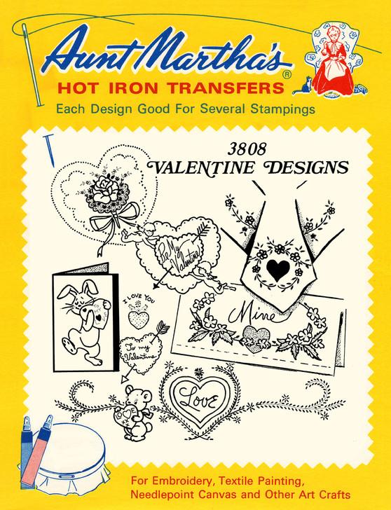 Aunt Martha's #3808 Valentine Designs Embroidery Transfer Pattern