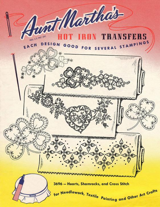 Aunt Martha's Embroidery Transfer Pattern #3696 Hearts, Shamrocks, and Cross Stitch