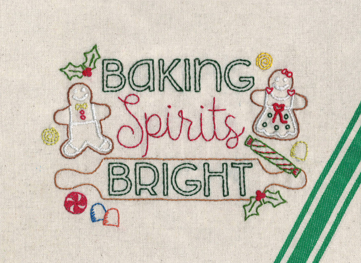 Aunt Martha's Hand Embroidery Iron-on Transfer Pattern - Baking Spirits Bright