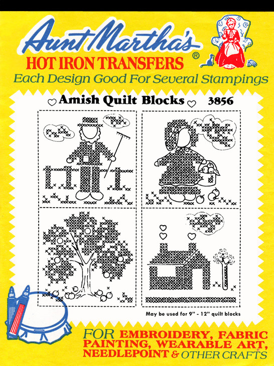 Iron-on Hand Embroidery Transfer Pattern Aunt Martha's® #3856 Amish Quilt Blocks