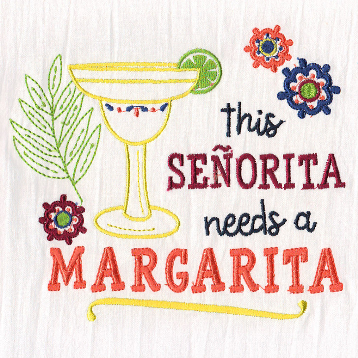 Aunt Martha's Special Edition Embroidery Transfer Pattern- This Señorita Needs a Margarita!