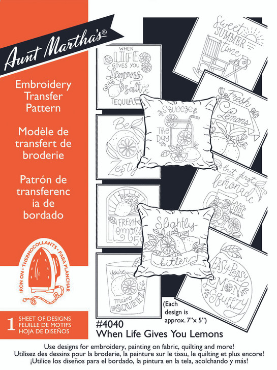 Aunt Martha's® #4040 When Life Gives You Lemons Hand Stitch Embroidery Transfer Pattern