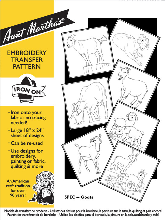 Aunt Martha's® Hand Embroidery Iron-on Transfer Pattern - Goats