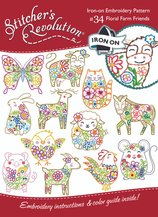 Stitcher's Revolution® Hand Stitch Embroidery Transfer Pattern #SR34 Floral Farm Friends