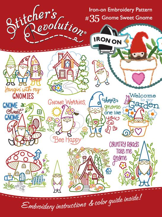 Stitcher's Revolution® Embroidery Transfer Pattern SR35 Gnome Sweet Gnome