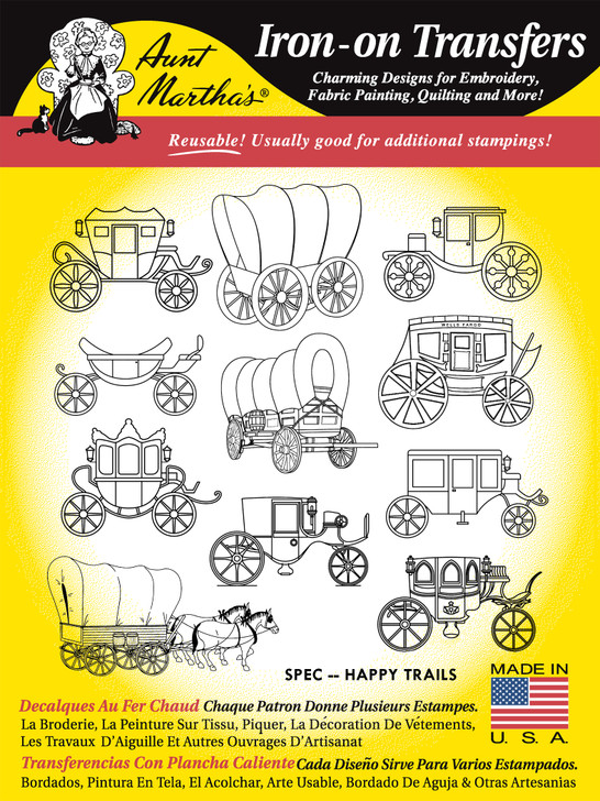 Aunt Martha's® Hand Embroidery Iron-on Transfer Pattern - Happy Trails