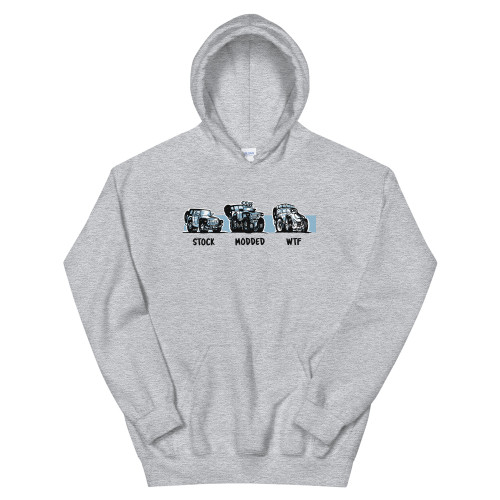 Gray Stock.  Modded.  WTF Unisex Hoodie