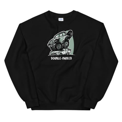 Black Double-Parked Unisex Sweatshirt