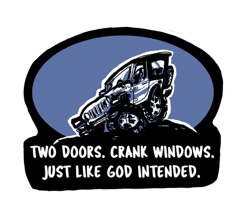 Two Doors Crank Windows Decal