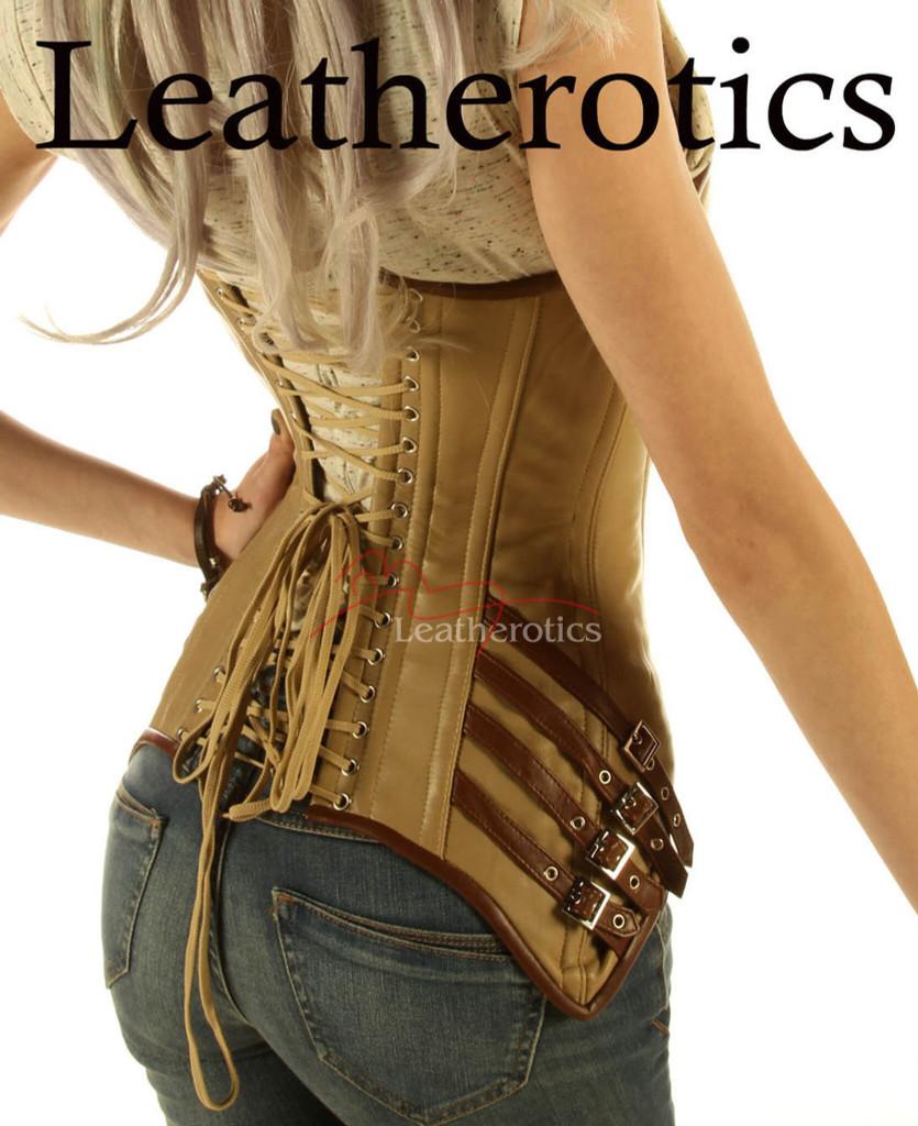 steampunk tan corset overbust gothic top dress