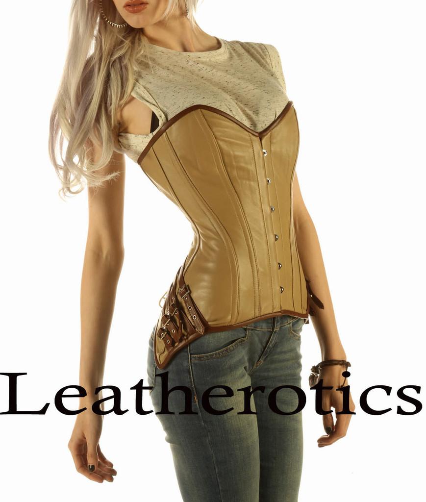Full Grain Leather Corset Steel Boned Steampunk Clothing Top Tan