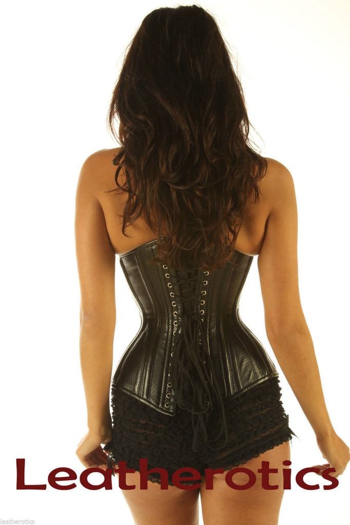 Intense Tight steel boned Leather Corset 1836 Perforated