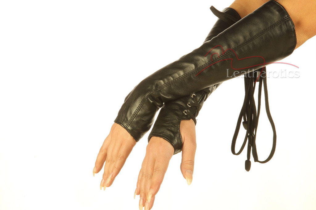Leather fingerless Lace Arm Gloves 2