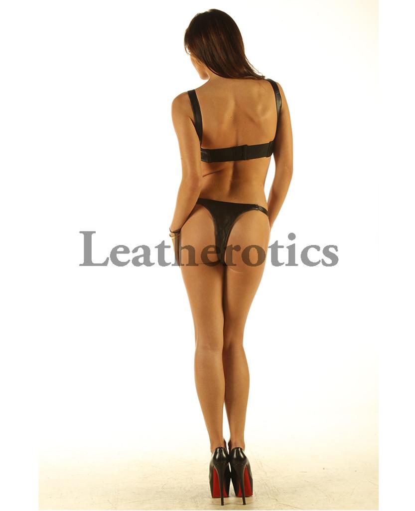 Leather Bikini Set Bra Underwear Hot image back