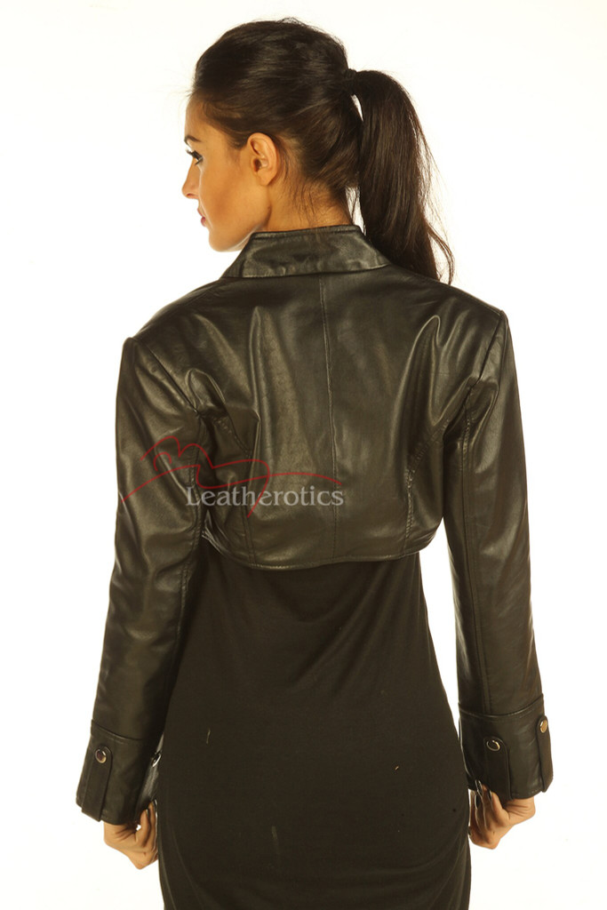 Ladies Leather Top Bolero with long sleeves pic 2