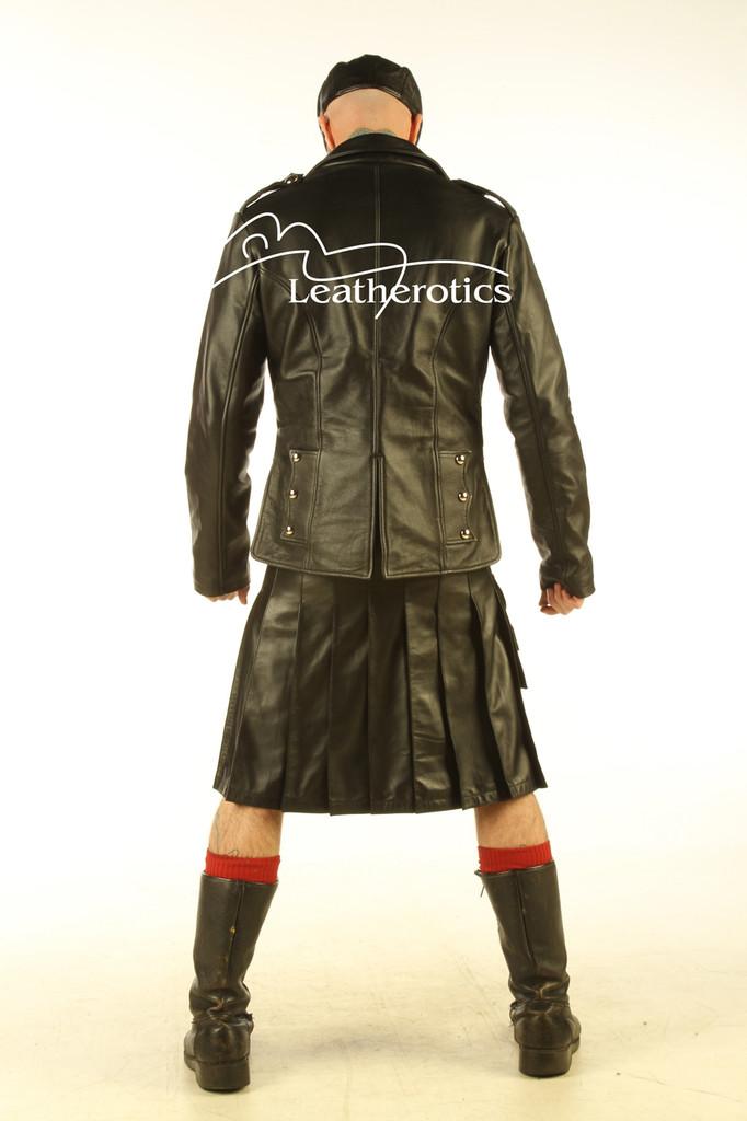 Mens Real Leather Kilt Top Prince Charlie jacket Full Grain