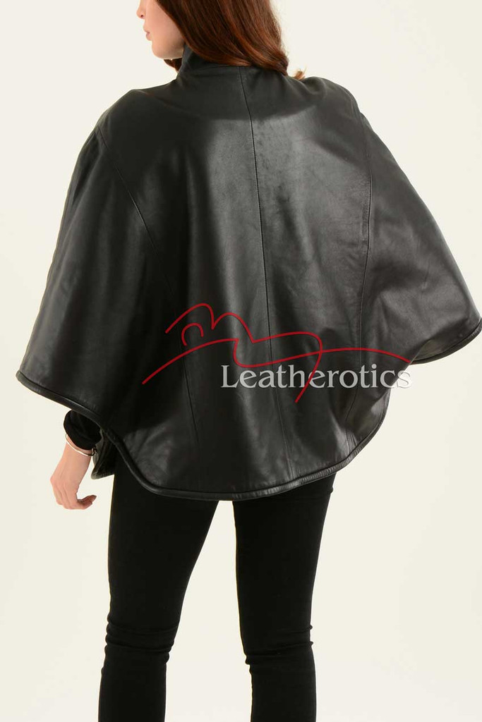 Ladies Fine Leather Cape With Fur Lining back