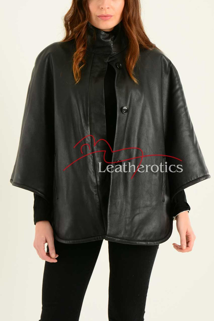 Ladies Fine Leather Cape With Fur Lining 2