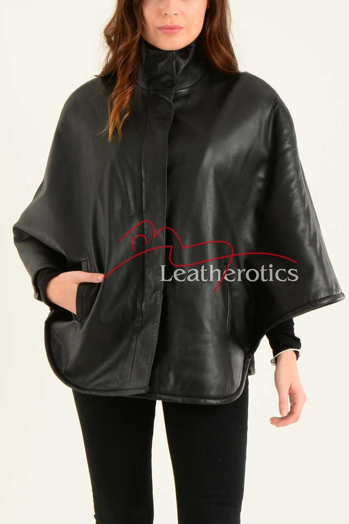 Ladies Fine Leather Cape With Fur Lining 3