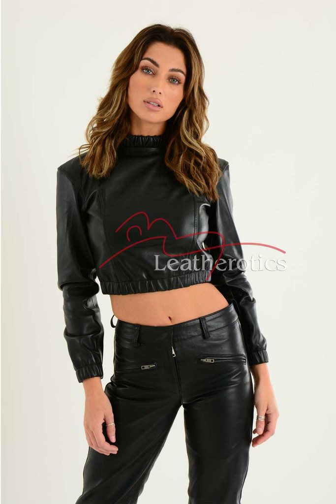 Ladies Luxurious Fine Leather Crop Top 7