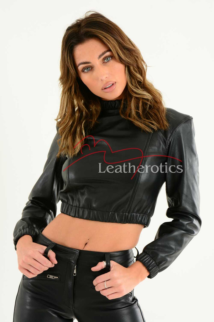 Ladies Luxurious Fine Leather Crop Top 1