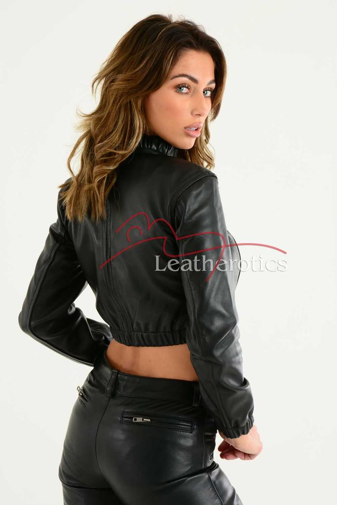 Ladies Luxurious Fine Leather Crop Top 2
