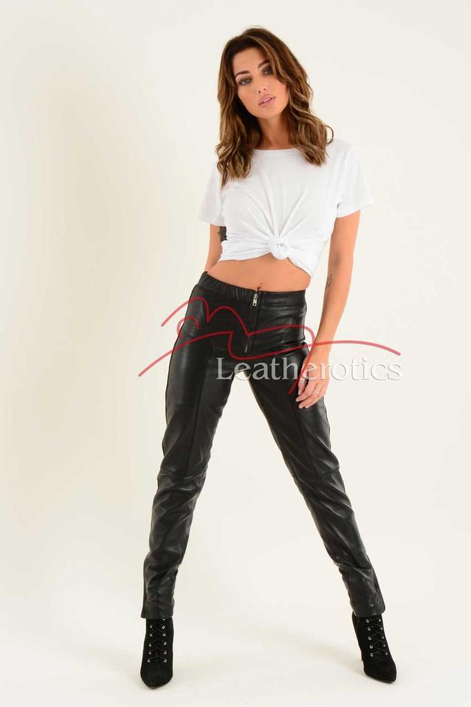 Ladies Fine Leather Skin tight Trouser leggings 2