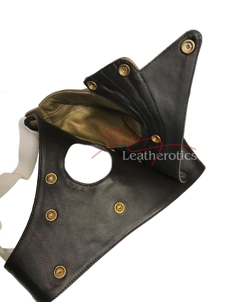 Mens Gold Leather Jockstrap limited edition - details