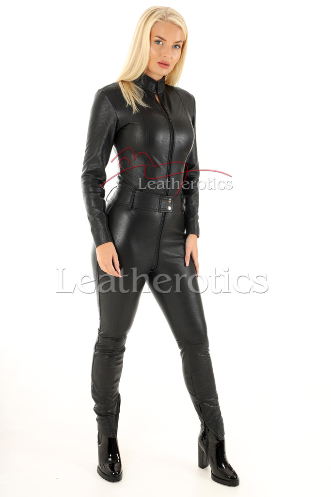 Woman's  perforated leather one piece suit 3