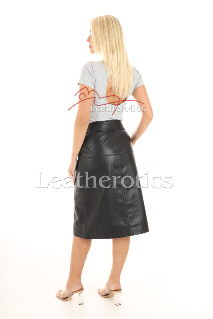 A Line Real Leather Skirt 7