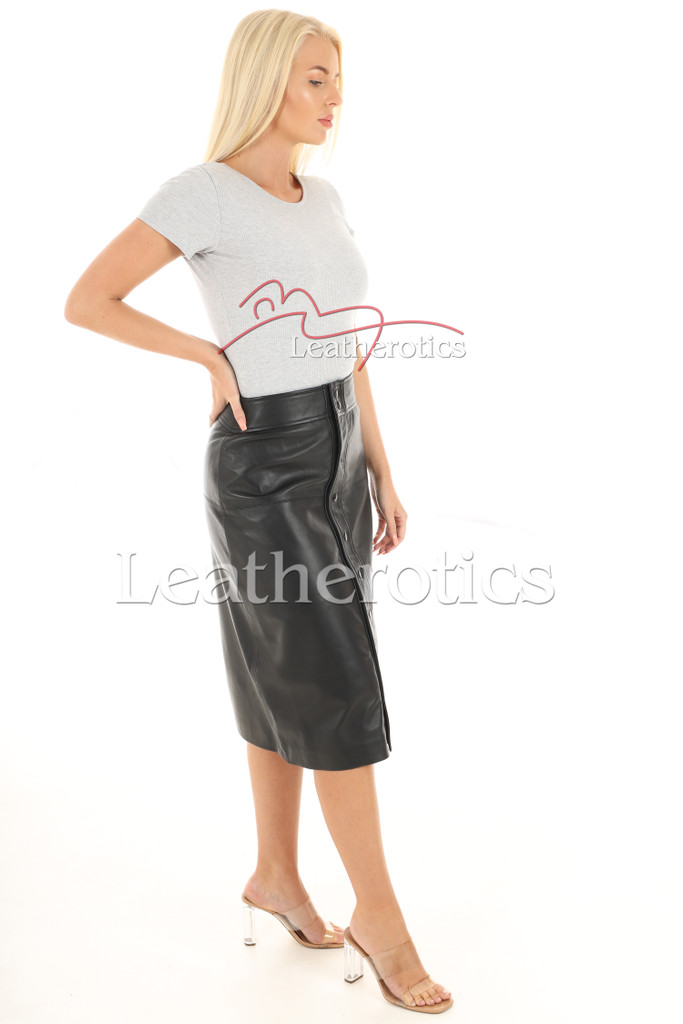A Line Real Leather Skirt 5