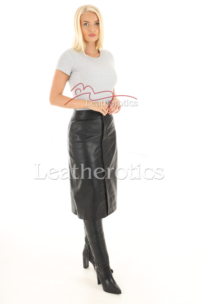 A Line Real Leather Skirt 4