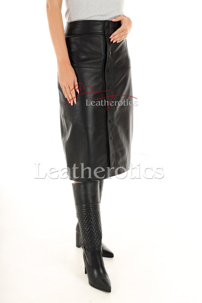 A Line Real Leather Skirt 1